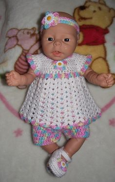 Baby Girl Diaper Dress Set  Headband Top by TJsCrochetCreations, $24.99