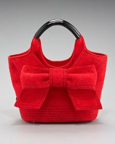 Kate spade new york-Tate Bow-Front Felt Tote in Red or Black