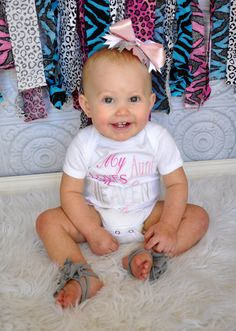 My Aunt Loves Me To Heaven And Back Embroidered Shirt or Onesie with Matching Bow. $26.00, via Etsy.
