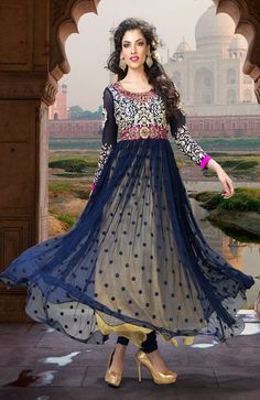 Tranquil Navy Blue and Yellow Net With Stanton Anarkali Salwar Kameez-IG6917 at IndianGarb
