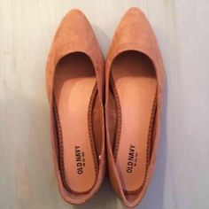 Tan Flats Never worn! Good condition! Very cute-just haven't worn them and they need a good home! On left shoe, little crease near where pinky toe would go. They were bought like that. Suede material! Old Navy Shoes Flats & Loafers