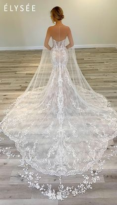 Delicate bridal cape with sequined floral lace hem available at The Bridal Studio in Salt Lake City, Utah. Stunning Wedding Dresses, Long Wedding Dresses, Princess Wedding Dresses, Bridal Dresses, Beautiful Dresses, Wedding Dress Long Train, Lace Bridal Gowns, Mermaid Wedding Dresses, Cathedral Wedding Dress