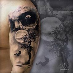Eerie piece by by inkedmag Spooky Tattoos, Greek Tattoos, Dark Tattoo, Classy Tattoos, Sleeve Tattoos, Beautiful Tattoos, Forest Tattoos, Ink Tattoo, Black Ink Tattoos
