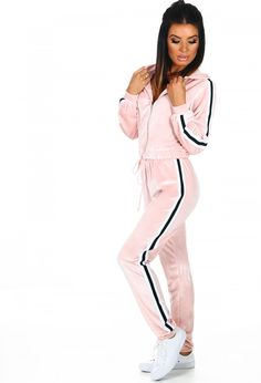 Work a super cute and cosy look with this baby pink tracksuit! This pink velvet tracksuit features a zip through hoodie and matching pink joggers with elasticated waistband. This super girly lounge set also features a black and white stripe and is ideal Velvet Tracksuit, Tracksuit Bottoms, Pink Velvet, Dance Outfits, Style Icons, Nude, Street Style, Princess, Casual