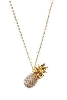 Large Gold Leaf Beige Pineapple Necklace | And Mary