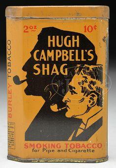 HUGH CAMPBELL'S SHAG VERTICAL POCKET TOBACCO TIN.