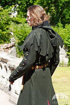 Woolen Medieval Mens Coat with Hood hooded coat mens by armstreet