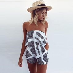 b22f256cf07b Summer 2017 Women Strapless Playsuit Striped Rompers Ruffles Sleeve Jumpsuit  Backless Sexy Overall Casual Beach Short Pants