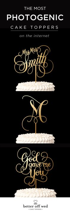 Exactly what I've been looking for! The most perfect, metallic gold letter to top our cake! ♥ www.betteroffwed.co