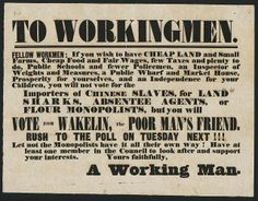 Political poster from the National Library of New Zealand ~ circa1853.