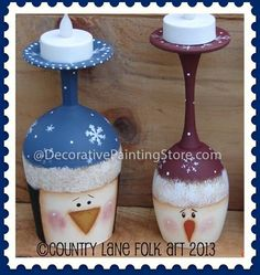 The Decorative Painting Store: Snowman and Penguin Wine Glass Candle Holders Pattern by Becky Levesque