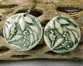 Green Porcelain Harvest Earrings With Sterling Silver Earwires