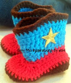 Crochet Cowboy Boots and Hat set for baby by SewMeInspirationbyJo, $45.00