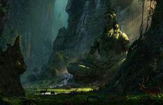 The Jungle Book Concept Art by Vance Kovacs The Jungle Book, Arte Shiva, Shiva Art, Shiva Tandav, Fantasy Places, Fantasy World, Fantasy Art, Fantasy Landscape, Landscape Art
