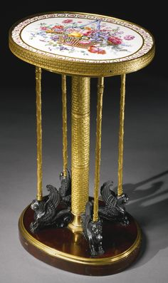 An Empire Sèvres porcelain-mounted ormolu, patinated-bronze and mahogany guéridon, attributed to Adam Weisweiler and Pierre-Philippe Thomire<br>circa 1805, the porcelain circa 1770-75 and attributed to Jacques-François Micaud | Lot | Sotheby's