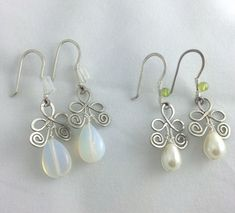 Wire Wrapped Moonstone or Pearl Drop Earrings by AurabyPortia, $17.00