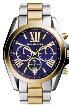 Free shipping and returns on MICHAEL Michael Kors Michael Kors 'Bradshaw' Chronograph Bracelet Watch, 43mm at Nordstrom.com. Roman numerals on a navy sunray dial give sophisticated style to a prominent watch forged in finely brushed steel.