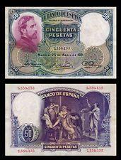50 PESETAS Banknote SPAIN - 1931- Artist ROSALES - Death of LUCRECIA - Crisp EF