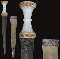 Indian (Mughal) dagger, 18th century,   the tapering double-edged watered-steel blade with incised palmette motif to the forte, the pale green hilt of waisted form with carved flutes and ridge to the grip, the pommel and forte inlaid with foliate bands of gold and spinels, the velvet-covered wood scabbard with silver mounts, 45.8cm.