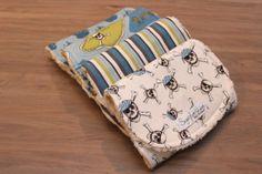 Baby Boy Burp Cloth Set of 4 Chenille Ivory by SugarPlumLaneBaby, $32.00