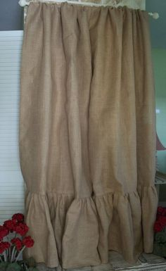 How To Make burlap Ruffled Curtains | Ruffled Burlap Curtain Panel In Natural Tan by SimplyFrenchMarket