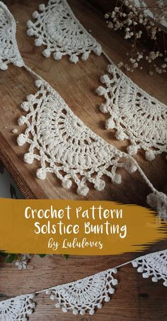 Crochet Solstice Bunting designed by Emma Escott Crochet Easter, Crochet Diy, Crochet Home Decor, Crochet World, Love Crochet, Crochet Motif, Crochet Crafts, Crochet Stitches, Lace Crochet Patterns