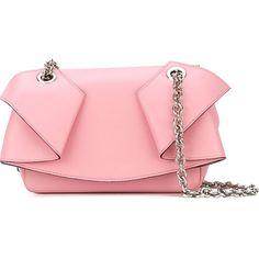 Emanuel Ungaro Ruffled Shoulder Bag ($698) ❤ liked on Polyvore featuring bags, handbags, shoulder bags, red leather purse, pink leather handbags, red shoulder bag, shoulder handbags and pink purse