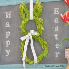 Framed Boxwood Easter Bunny Wreath