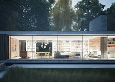 Strom Architects designs a cantilevered house hanging over a wall