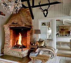 46 Cozy Corner Fireplace Ideas Best For Living Room Decoration - Home Bestiest My Living Room, Living Room Decor, Living Spaces, Open Fireplace, Fireplace Design, Fireplace Ideas, Cottage Fireplace, Deco Tape, Cocinas Kitchen