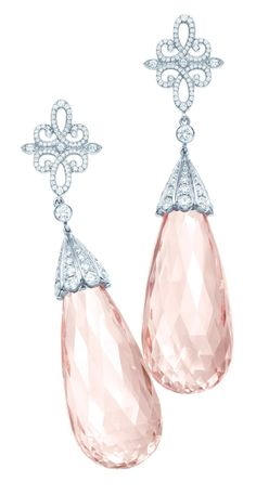 Tiffany Anniversary earrings of morganite briolettes, 54.54 total carats, with diamonds in platinum.