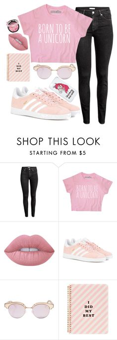 """piiiiiinnnnkkkk"" by beingmyselfaf on Polyvore featuring Lime Crime, adidas Originals, Le Specs, ban.do and Miss Selfridge"