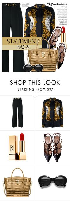 """""""Carry On: Statement Bags"""" by aidasusisilva ❤ liked on Polyvore featuring Avenue, Gucci, ESCADA, Yves Saint Laurent, Valentino, Michael Kors, Acne Studios and statementbags"""