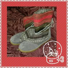 TOMS Nepal Boots Grey and Red TOMS Nepal Boots in grey suede and red tribal pattern at top. Worn only 3-4 times. Super cute and warm, but I just like boots to come up higher on me. TOMS Shoes Winter & Rain Boots