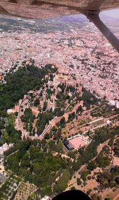 La Alhambra de Granada desde la avioneta.