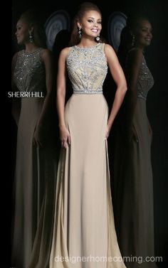 Nude Beads Sherri Hill Homecoming Dress 11069 Long