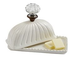 Fluted ceramic butter dish from Mud Pie features lid with vintage inspired glass door knob. Two piece set.  - Kitchen & Dining - National Cowboy Museum