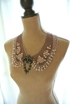 Pearl Peter pan collar necklace shabby lace by TrueRebelClothing, $65.00