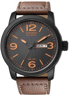 Citizen Eco-Drive Sport Brown Leather Mens Watch Bm8475-26E