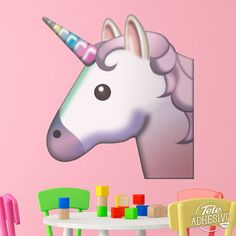 Vinilos Decorativos: Cara de unicornio #vinilo #pared #unicornio #emoji #decoracion #infantil #TeleAdhesivo