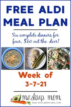 Free ALDI Meal Plan week of 3/7/21: Six complete dinners for four, $60 out the door! Save time & money with meal planning, and find new free ALDI meal plans every week. This week, you'll enjoy everything from pasta Florentine with salmon, to a sheet pan chicken & asparagus dinner. Meal Planning Board, Greek Vinaigrette, Aldi Meal Plan, Real Food Recipes, Healthy Recipes, Chicken Asparagus, Broccoli Cheddar, How To Make Salad