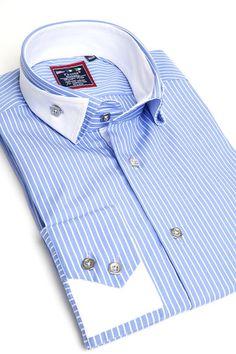 Franck Michel blue reverse collar shirt
