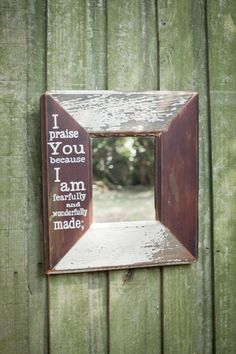 Hand Painted Bible Verse on 15x16 inch Mirror Made From An Old Door.  FoundPiece.com