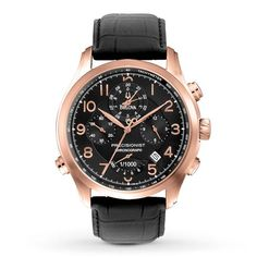Bulova Men's Black Dial Chronograph Rose Gold-Tone Leather Strap Watch