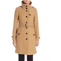 Burberry Brit Rushfield Funnelneck Coat ($1,140) ❤ liked on Polyvore featuring outerwear, coats, apparel & accessories, camel, military fashion, beige coat, burberry coat, military style coat and camel coat