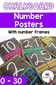 Chalk board number posters from 0 to 30. Each poster includes the digit, word and the number represented in ten frames. Practice number sense, counting, recognizing numbers and more in your preschool, kindergarten, first or second grade classrooms. Chalkboard Numbers, Chalkboard Calendar, Phonics Activities, Math Resources, Number Bonds To 10, Number Recognition Activities, Visual Timetable, Number Posters, Schedule Cards