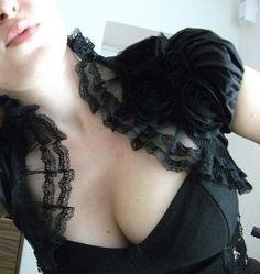 PARIS ROMANCE black silk lace rose bolero shrug