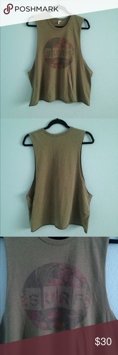 Green surf muscle tank top Size XL. Oversized fit. Muscle tee with large arm holes. From rip curl Rip Curl Tops Tank Tops