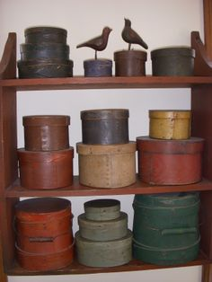 Pantry boxes and firkins in paint Randee Mamburg Collection