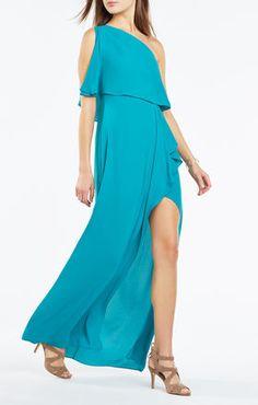 Robe de soirée drapée à une épaule Secha